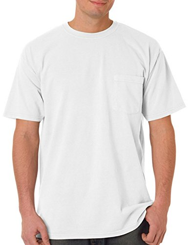 (Comfort Colors Chouinard 6030 Adult Heavyweight Pocket Tee White DirDye Large)
