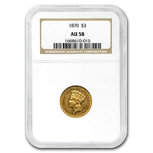 1870 $3 Gold Princess AU-58 NGC $3 AU-58 NGC