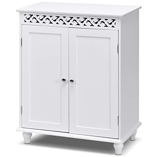 Tangkula Floor Cabinet, Bathroom Storage Cabinet, Wooden Modern Home Living Room Side Organizer, Free Standing Storage Cabinet Furniture (White)