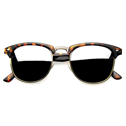 Retro Fashion Half Frame Flash Mirror Lens Semi Rimless Horned Rim Sunglasses (Tortoise Silver, - Semi Rim Sunglasses