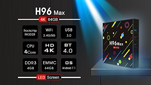 Android 7.1 TV Box 4G+64GB H96 Max 4K Display Screen RK3328 UHD Quad-Core WiFi Ultra HD H.265 Bluetooth
