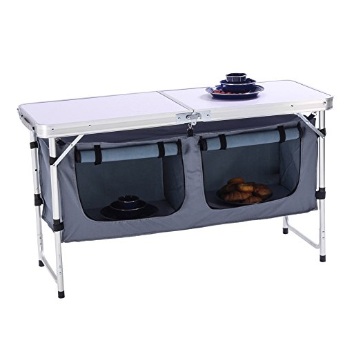 Seatopia Aluminum Folding Table with Storage Organizer Outdoor Lightweight Height Adjustable for Patio, Camping, Garden Picnic A