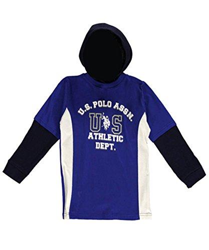 Boys 2-7 Layered Look Hooded Henley Top 5//6 Blue Polo Assn U.S