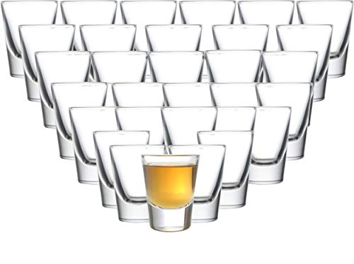 Circleware 042735 Huge Set of 36, Austria Shot Heavy Base Drinking Whiskey Glass Glassware Cups for Vodka, Brandy, Bourbon & Best Selling Liquor Beverages, Limited Edition, 36pc]()