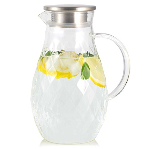 Beverage Tea Glass - Borosilicate Glass Pitcher with Lid and Spout - 68 Ounces Cold and Hot Water Carafe with Unique Diamond Pattern, Beverage Pitcher for Homemade Iced Tea and Juice.