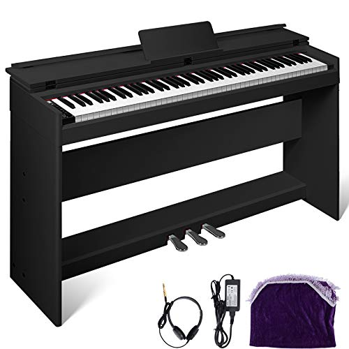 Happybuy White/Black Digital Piano 88-Key Electric Piano Keyboard w/Pedal Board Music Stand for Beginner/Adults (B-W/Stand +3-Pedal+Adapter, Black Without Bench)