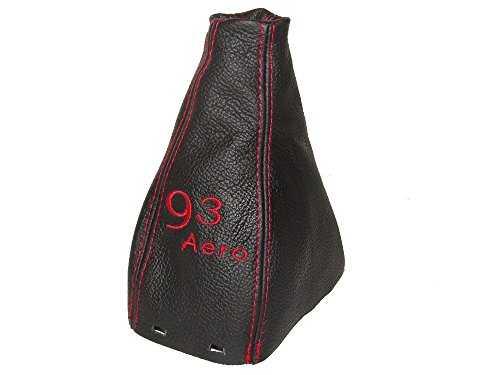 The Tuning-Shop Ltd For Saab 9-3 93 Ss 2003+ Manual Gear Gaiter Shift Boot Black Italian Leather With Red 93 Aero Embroidery Logo - Aero Leather