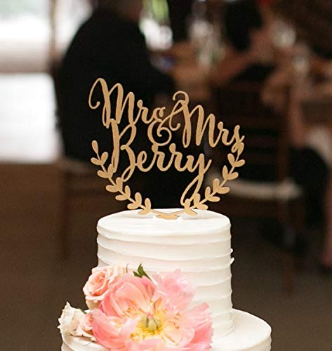 Cake Topper - personalized wedding cake topper custom names personalized name with leaf wood cake topper rustic wedding cake topper