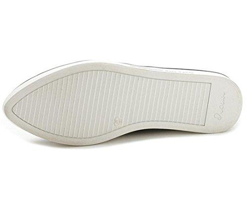 Sport Frauen Maedchen Carrefour Slip on Studenten echtes Leder flache Schuhe Sneakers Schwarz
