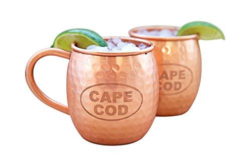 Alchemade Copper Barrel Mug for Moscow Mules (Cape Cod) - Set of 2 - 16 oz - 100% Pure Hammered Copper Mug - Heavy Gauge - No lining - includes FREE E-Recipe book ()