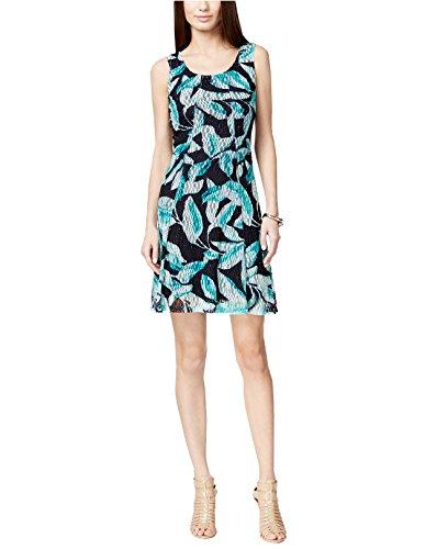Alfani Floral Dress - Alfani Women's Floral Lace A-Line Dress (Large, Navy Aqua)