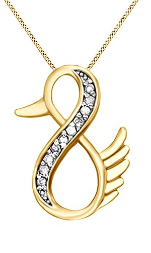 White Natural Diamond Duck infinity Pendant with chain in 14k Yellow Gold Over Sterling Silver (1/10 Cttw)