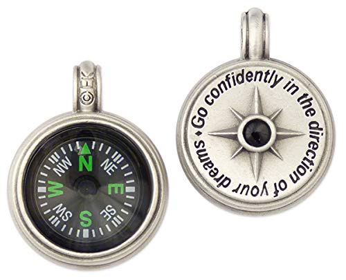 Journeyworks Compass Rose Compass Pendant with Thoreau Quote
