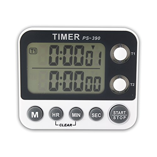 Portable LCD Timer with Magnet Countdown, Dual Display Channel Alarm Timer (Lcd Countdown Timer)
