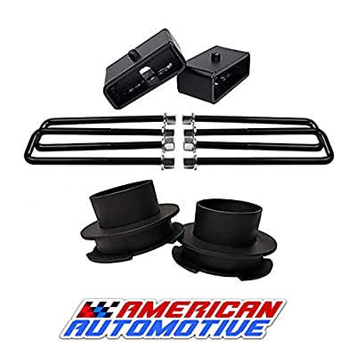 Image of American Automotive 1997-2003 F150 Lift Kit 2WD 3' Front Spring Spacers + 2' Rear Blocks Made in USA Steel Road Fury TIG Welded