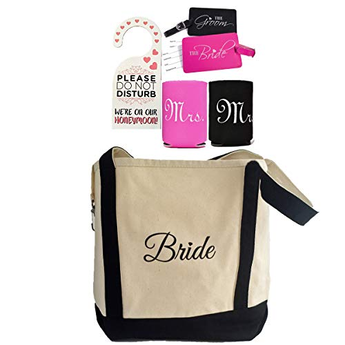 Bride Shower Gift - Bride Canvas Tote and Honeymoon Survival Kit (Bride and Groom Luggage Tags, Cup Holders and Do Not Disturb Door Hanger) Bundle of 4 items