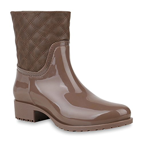 Rockige Damen Stiefeletten Gummistiefel Profilsohle Wasserdichte Boots Stiefel Gumistiefeletten Lack Damenschuhe Nieten Flandell Khaki Amares