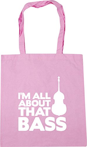 HippoWarehouse I'm All About That Bass (Double Bass) Tote Shopping Gym Beach Bag 42cm x38cm, 10 litres Classic Pink