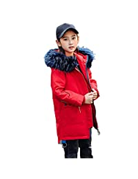 honuansortory Girl's Down Coat Zip-up Hooded Thick Warm Down Jacket with Pockests Winter Overcoat for Kids