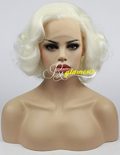 Riglamour Ladies Short Wavy Blonde Lace Front Synthetic