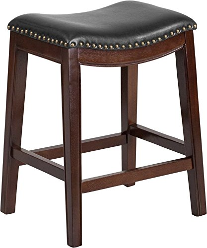 """Estella 26"""" Backless Cappuccino Wood Counter Stool w/Black Leather Saddle"""