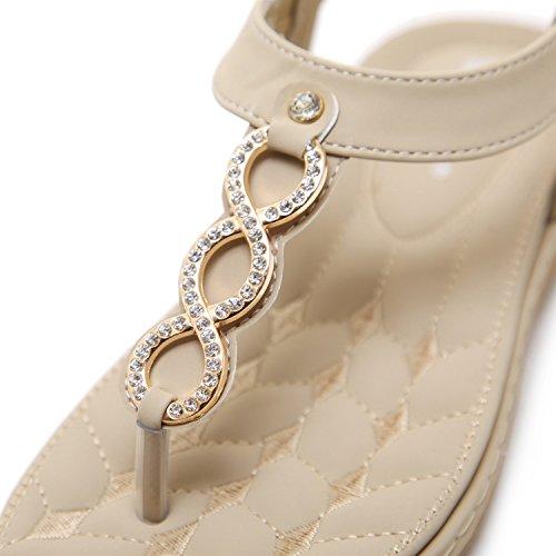 Plat Toe Sandales XIAOQI Femmes Extérieur Métal Bas Américaine Diamant et Code Beige Bohème Européenne Taille z0agO