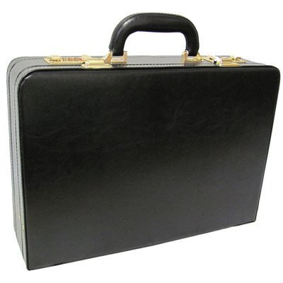 AmeriLeather Expandable Executive Faux Leather Attache Case (Black)