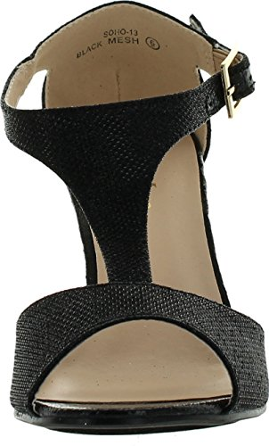 Bella Marie Soho-13 Womens Buckle T-Strap Shinny Glitters Peep Toe Wedge Sandal Black XWJFS