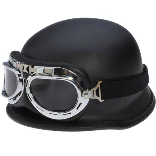 Dcolor WWII Stile NERO Casco mezzo tedesco del motociclo motociclista Pilota occhiali NUOVO