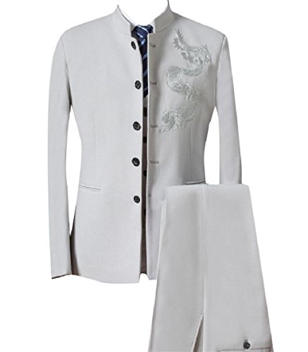 Zimaes-Men Embroidered 2-Piece Button Mandarin Collar Suit Jacket Blazer Beige ()