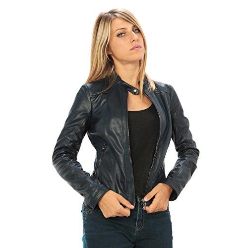 """Mujer Chaqueta de cuero auténtico """"estilo ciclistas�?Made in Italy Azul"""