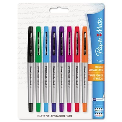 Paper Mate 62145 Flair Porous Point Stick Liquid Pen, Assorted Ink, Ultra Fine, 8/St (Liquid Porous Point Pens)