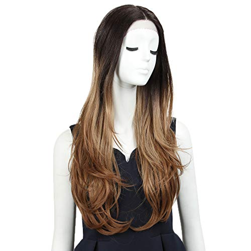 NOBLE Long Lace Front Wigs 31inches Natural Straight Hair Wig Curl End Middle Part Wig Ombre Wigs for Women (31inches, TAT4/613F/R27)