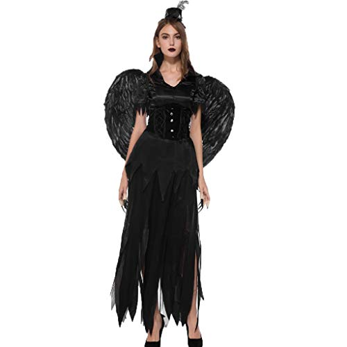 Yoyorule Costumes Women Halloween Magic Witch Black Angel Dress Party Costume Cosplay Long Dress Witch Halloween ()