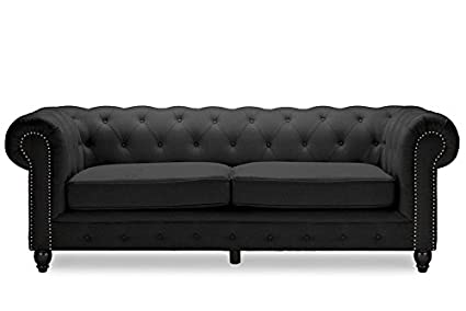 Amazon.com: Modern Chesterfield Sofa in Grey Fabric: Kitchen & Dining