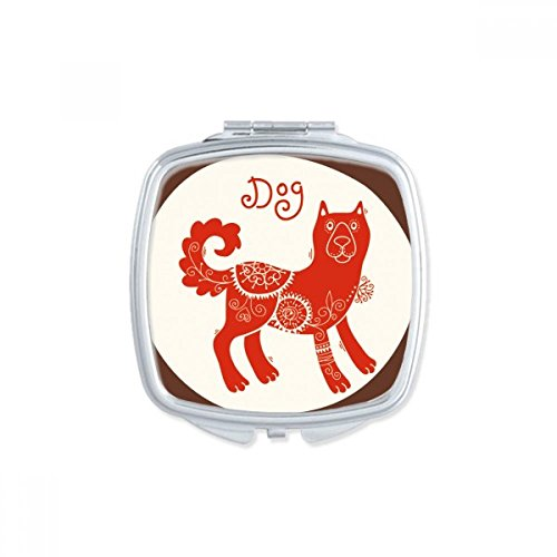 DIYthinker Year Of Dog Animal China Zodiac Red Square Compact Makeup Mirror Portable Cute Hand Pocket Mirrors Gift by DIYthinker