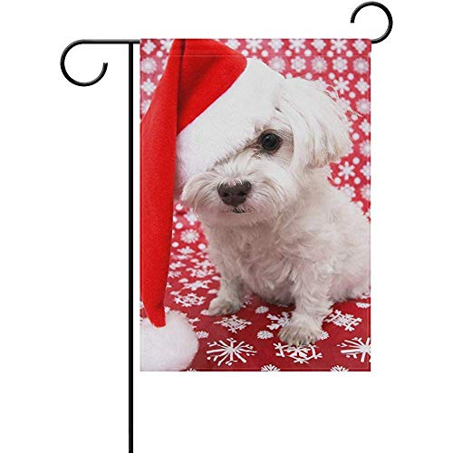Yunnstrou Garden Flag White Maltese Dog in Christmas Santa Hat House Home Flags 12 x 18 inch Double Sided Decorative Winter Holiday Welcome Yard Flag