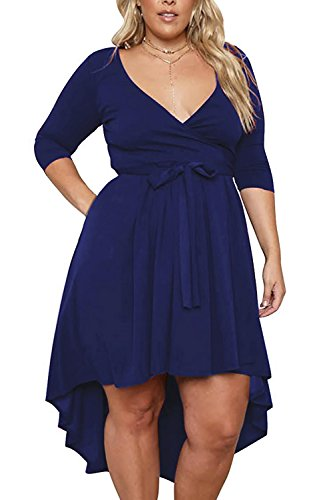 Nemidor Women's Solid V Neck Knee Length 3/4 Sleeve High Low Plus Size Party Dress (Navy, 22W)