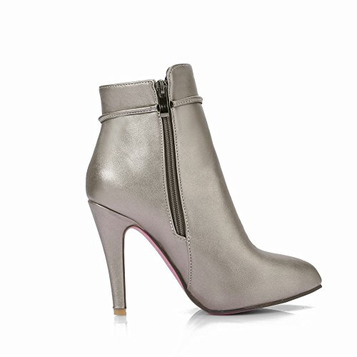 Toe High Pointed Silver Zip Shoes Grey Mee Women's Boots Heel Chic Short qwXpnBI