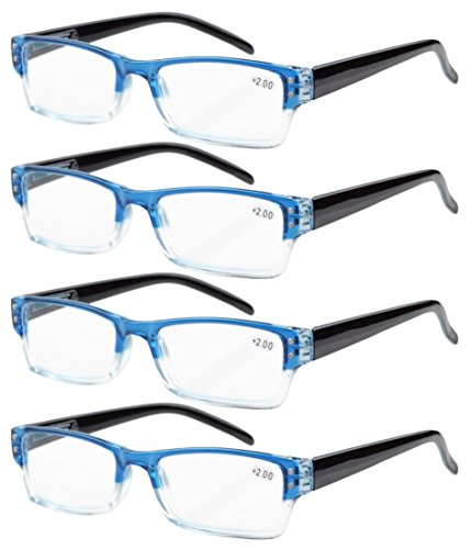 (Eyekepper 4-Pack Spring Hinges Rectangular Reading Glasses Blue +3.50)