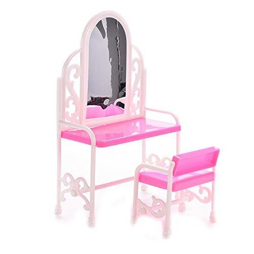 Fengh Dollhouse miniature Mini meubles de chambre à coucher Coiffeuse et chaise pour Barbies Poupées (Rose)