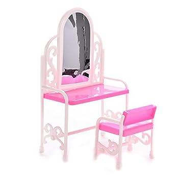 Romote Dollhouse Meubles Coiffeuse Et Chaise Pour Barbies Poupées Meubles De Chambre à Coucher