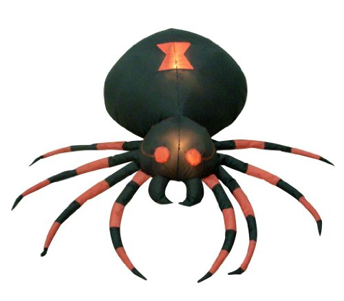 [4 Foot Wide Halloween Inflatable Black Spider Yard Decoration] (Halloween Yard)