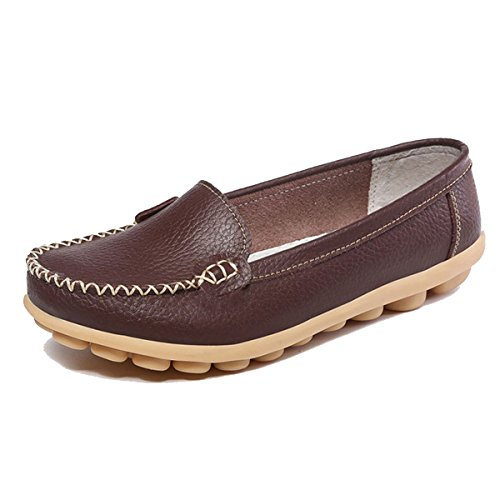 Orangetime Women's Penny Loafers Slip On Flats Casual-Soft Breathable PU Leather Boat Shoes Comfort Driving Shoes Brown 40 by Orangetime