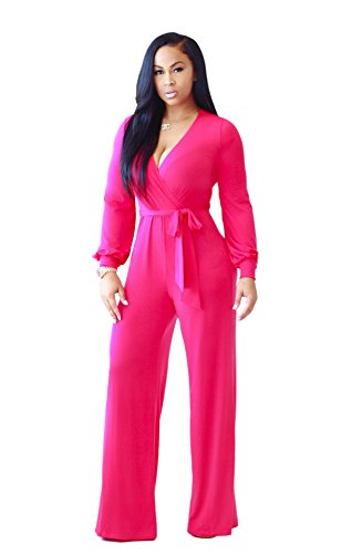 Pink Jumpsuit (Womens Jumpsuits Sexy Plunge V Neck Belted Loose Long Wide Leg Jumpsuit Romper Rose S)