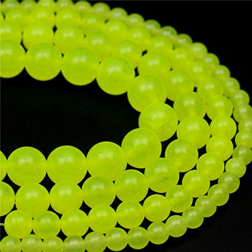Oameusa 12mm Bright Yellow Chalcedony Round Beads Gemstone Beads Loose Beads Agate Beads for Jewelry Making 15