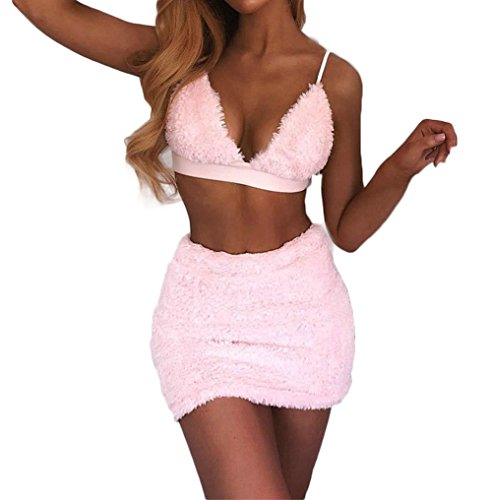 (Women Halter Backless Bralette Crop Top Bodycon Mini Skirt Two Piece Mini Dress Set Clubwear (L, Pink) )