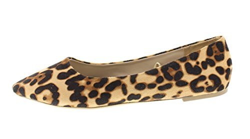 Gull Tå Kvinners Ashanti Brun Leopard Trykte Spisse Tå Ballet Flate Uten Krengning Tilfeldig Kjole Pumpe Slipon Sko Leopard