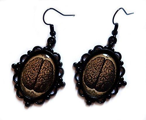 Moon Maiden Jewelry Black Framed Anatomical Brain Cameo Earrings (Cameo Framed Earrings)