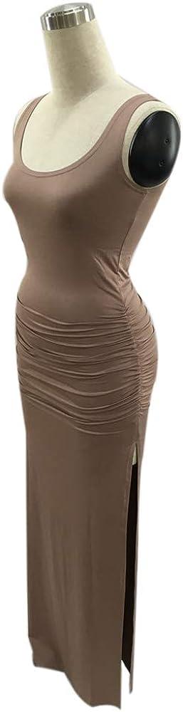 TOP-MAX Womens Casual Sleeveless U-Neck Split Tank Top Bodycon Long Maxi Dress